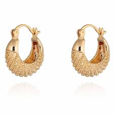 gold ear ring image yazilind charming 18k gold plated simple design smal hoop earrings