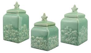 decorative canister sets kitchen coastal seashell ceramic teal blue canister set home decor