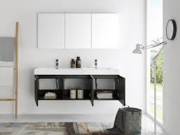 fresca mezzo 60 inch gray oak wall mounted double sink modern