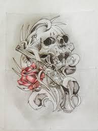 tattoo design art skull rose blackandwhite drawing t u2026 flickr