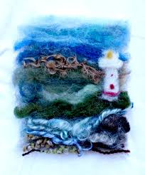 121017 gisela needle felted painting lighthouse by the rocky