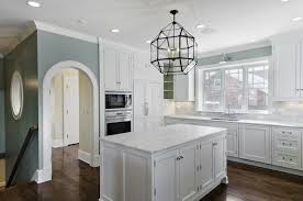 White Cabinets With Blue Walls Cameo Homes Kitchens Suzanne Kasler Large Morris Lantern
