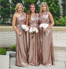 rose gold sequined plus size bridesmaids dresses 2016 a line one