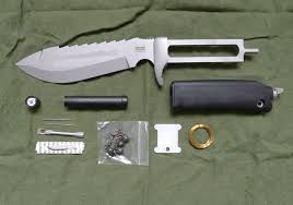 wilkinson sword kitchen knives expanded dartmoor knife csk185 showing survival kit and cut out