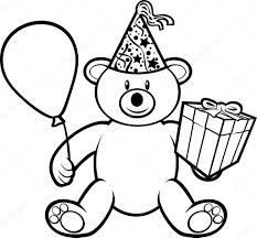 teddy in a balloon gift teddy with gift box birthday hat and balloon stock