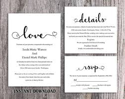 wedding invitations black and white diy wedding invitation template set editable word file