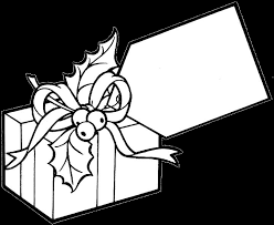 birthday present clip art black white coloring pages