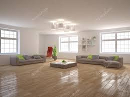 white minimal interior with panoramic windows and modern furniture