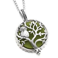 owl jewelry necklace images Aromatherapy necklace silver color with tree of life owl essential jpg