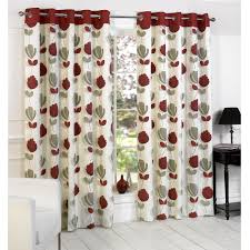 Thermal Curtain Liner Eyelet by Lotti Modern Floral Print Eyelet Curtains Cream Red Home