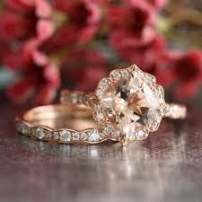 scalloped wedding band bridal set vintage floral morganite engagement ring and scalloped