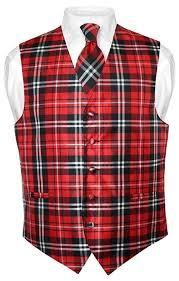 men u0027s plaid design dress vest u0026 necktie red neck tie
