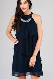 dress with necklace images Navy tiered dress with necklace jane norman jpg