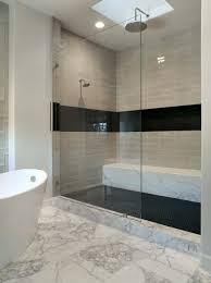 white and blue ceramic tiled wall tile shower and tub ideas modern