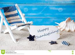 summer label with deck chair and text happy thanksgiving stock