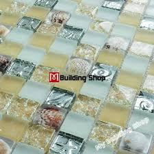 yellow glass mosaic wall tile kitchen backsplash resin shell