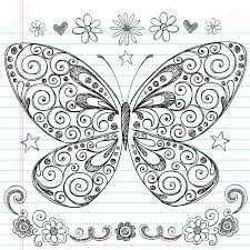 butterfly sketchy notebook doodle design elements