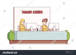 two receptionists secretary women working reception stock vector