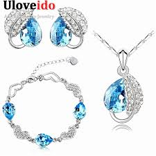 earring necklace bracelet sets images Uloveido plated silver cz diamond jewelry sets necklace earring jpg