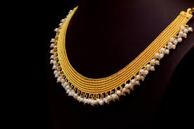 golden necklace designs images Kasavu mala by bhima jewellers jewellery designs jpg