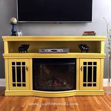 Yellow Fireplace Painted Media Console In Sunshine Yellow By Just The Woods