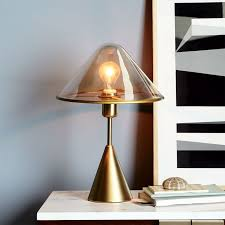 Brass Colored Desk Lamp Tinted Glass Task Table Lamp West Elm