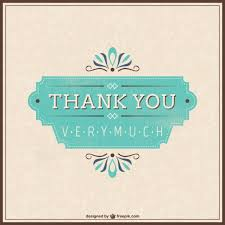 retro thank you card vector free