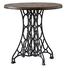 round wood side table with funky metal base design idea of