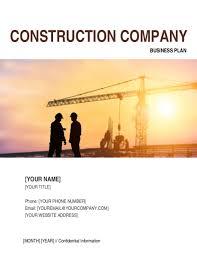 construction company business plan template u0026 sample form