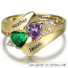 mothers ring with names customized couples simulated birthstone gold color rings