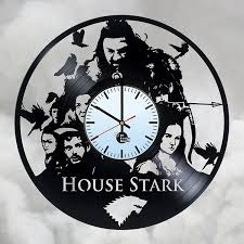 game of thrones house stark handmade vinyl record wall clock cool