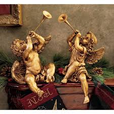 amazon com design toscano 2 piece trumpeting angels statue set in