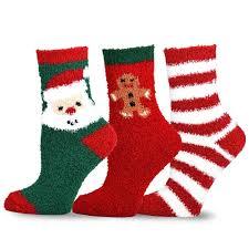 teehee christmas cozy fuzzy crew socks 3 pack for women