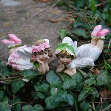 two laying flower garden ornaments outdoor fairies