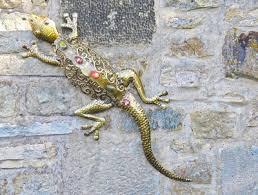 wonderful gecko lizard metal garden wall decoration art discount