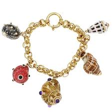 gold charm bracelet beads images Maz amethyst citrine pearl coral onyx sea shell gold charm jpg