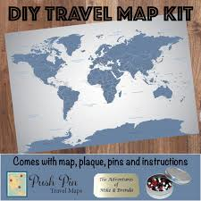 World Map Poster With Pins by Diy Blue Ice World Push Pin Travel Map Kit Push Pin Travel Maps