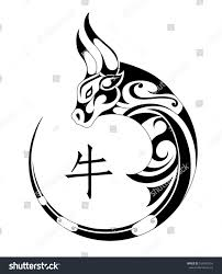 ox tribal tattoo chinese zodiac symbol stock vector 534892516