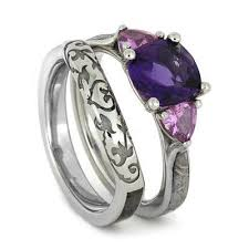 Amethyst Wedding Rings by Aerolite Meteorites Meteorite Ring Sapphire U0026 Amethyst Wedding