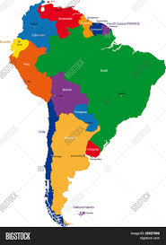 World Maps With Countries by Colorful South America Map With Countries And Capital Cities Stock