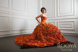 wedding dress rent jakarta rooya couture flowerly orange prewedding gown rooya couture