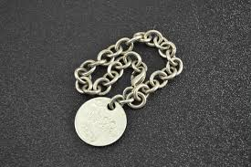solid silver charm bracelet images 33 2g solid silver tiffany co high retail value round tag charm jpg