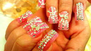 nail rhinestone designs diamond tutorial youtube