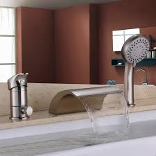 hiendure waterfall solid brass roman tub faucet set with hand