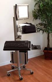Computer Desk Height by Vc01 Mobile Height Adjustable Pole Computer Station Sit Or Stand