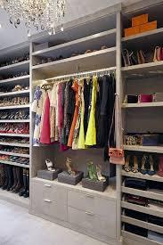 gray closet shoe shelves transitional closet