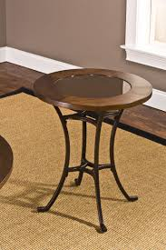 round wood and metal end table hillsdale montclair round end table wood border with mirrored