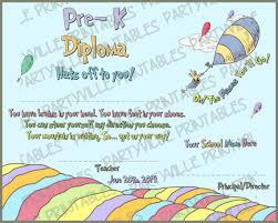 preschool graduation diploma dr seuss graduation diploma or by partyvilleprintables on etsy
