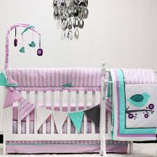 Purple Nursery Bedding Sets by Pam Grace Creations Lavender Love Birds 10 Piece Crib Bedding Set