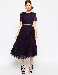 lace crop top midi prom dress by asos navy